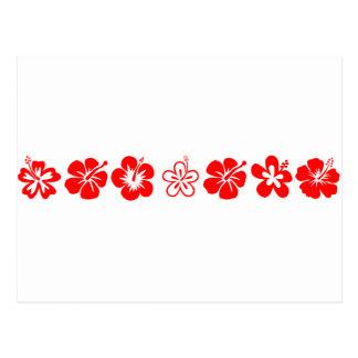 Tema rojo del hibisco tarjetas postales