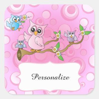Tema rosado de la ducha del búho el | del bebé pegatina cuadrada