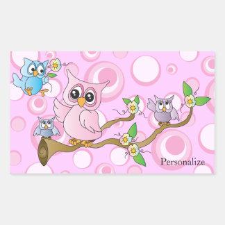Tema rosado de la ducha del búho el | del bebé pegatina rectangular