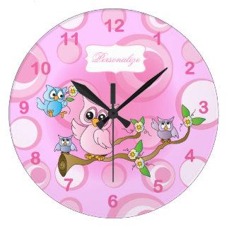 Tema rosado del cuarto de niños del búho del bebé relojes de pared