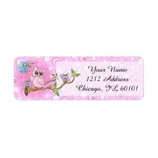 Tema rosado lindo de la fiesta de bienvenida al etiqueta de remite