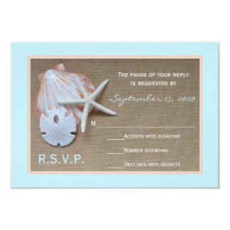 Tema RSVP de la playa que casa la invitación Invitación 8,9 X 12,7 Cm