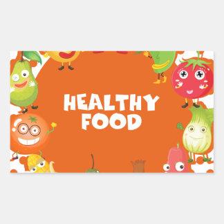 Tema sano de la comida con las frutas y verduras pegatina rectangular
