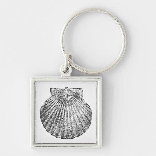 Tema simple de la playa del océano del Seashell de Llaveros