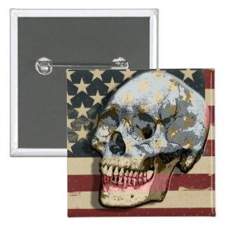 Tema sonriente divertido de la bandera americana d pin cuadrado
