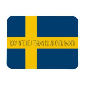 Tema sueco Ropa Inte Hej de la bandera del refrán Iman Rectangular