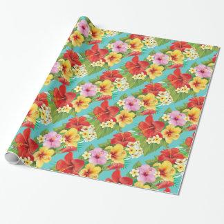 Tema tropical de las islas del hibisco hawaiano papel de regalo