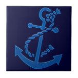Temático marino náutico del ancla de la nave azul azulejo cerámica