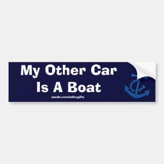 Temático marino náutico del ancla de la nave azul etiqueta de parachoque