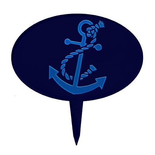 Temático marino náutico del ancla de la nave azul figuras de tarta