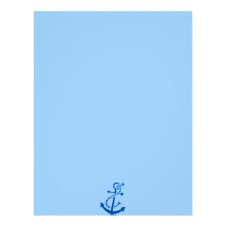 Temático marino náutico del ancla de la nave azul membrete