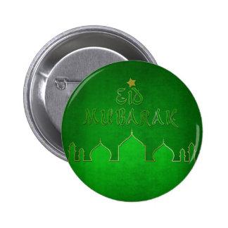 Temático verde de Eid Mubarak - Brutton islámico Pin Redondo De 2 Pulgadas