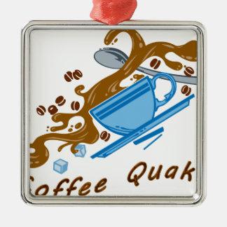 Temblor del café adorno navideño cuadrado de metal