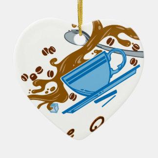 Temblor del café adorno navideño de cerámica en forma de corazón