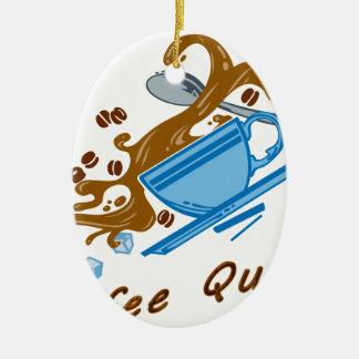 Temblor del café adorno navideño ovalado de cerámica