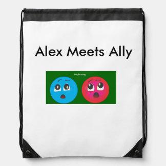 Temor sonriente de Alex y del aliado Mochila