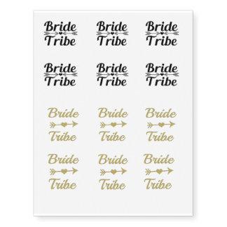 Temp Bride Tribe Bridesmaid women's gold glitter Temporary Tattoos
