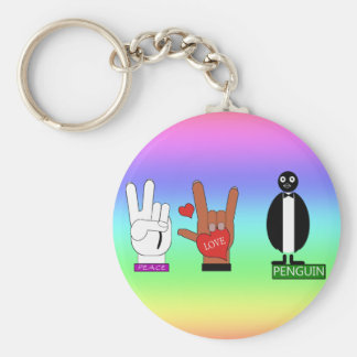 TEMP PEACE LOVE ASL KEYCHAIN