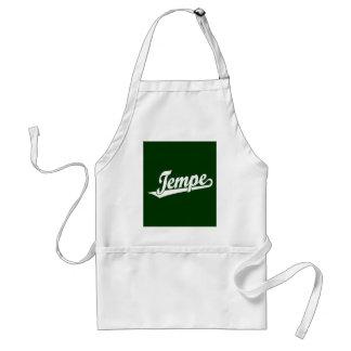 Tempe script logo in white apron