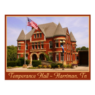 Temperance Hall - Harriman, TN Postcard