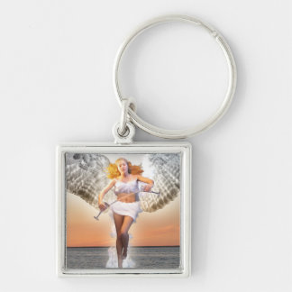 Temperance Tarot Card Art Silver-Colored Square Keychain