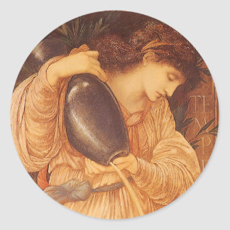 Temperantia by Burne Jones, Vintage Victorian Art Classic Round Sticker