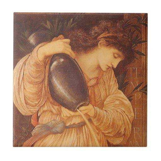 Temperantia de Burne Jones, arte del Victorian del Azulejo Cuadrado Pequeño