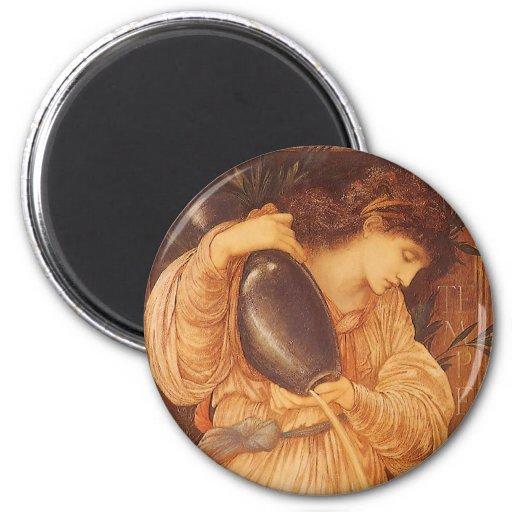 Temperantia de Burne Jones, arte del Victorian del Imán Redondo 5 Cm
