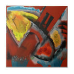 Tempest - Digital Abstract with Red Background Small Square Tile