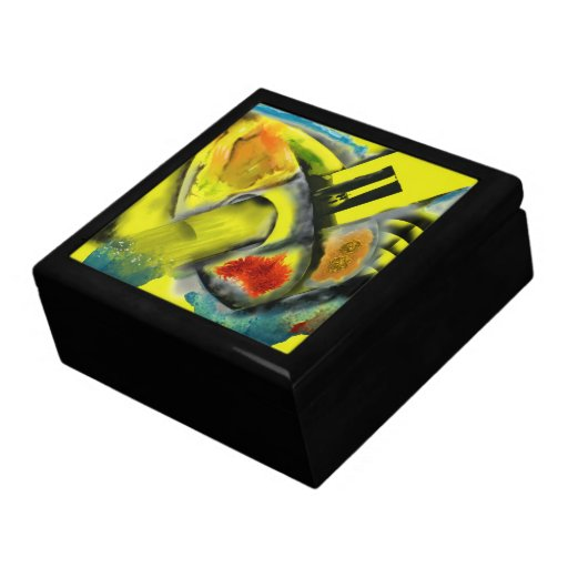 Tempest - Digital Abstract with Yellow Background Keepsake Box