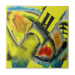 Tempest - Digital Abstract with Yellow Background Small Square Tile