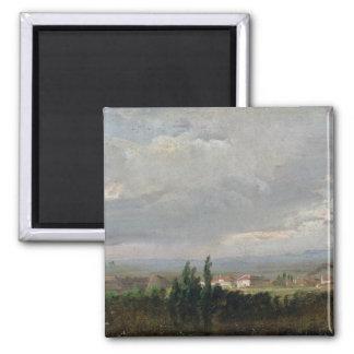 Tempestad de truenos cerca de Dresden, 1830 Imán Cuadrado