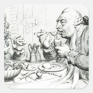 Templanza que disfruta de una comida frugal calcomanía cuadradas