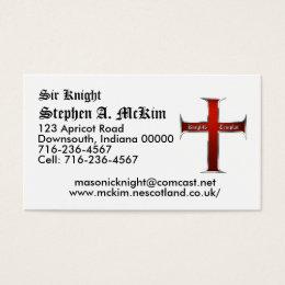 Templar Cross Business Card