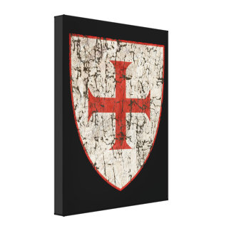 Templar Cross, Distressed Canvas Print