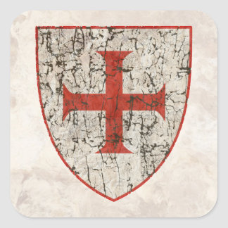 Templar Cross, Distressed Square Sticker
