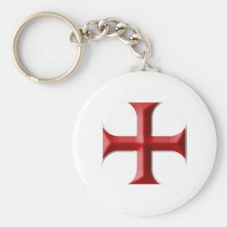 Templar Cross Basic Round Button Keychain