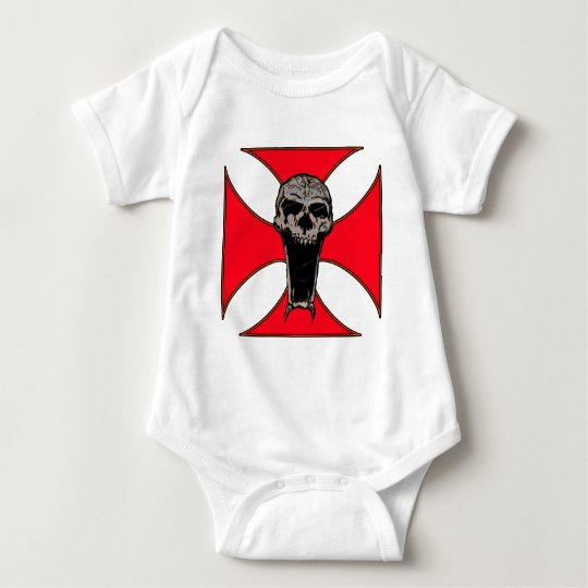 Templar cross skull baby bodysuit