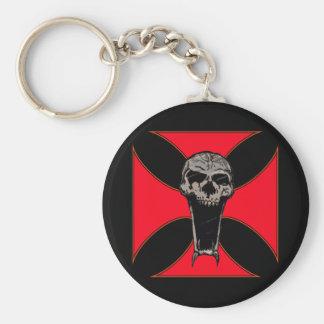 Templar cross skull keychain