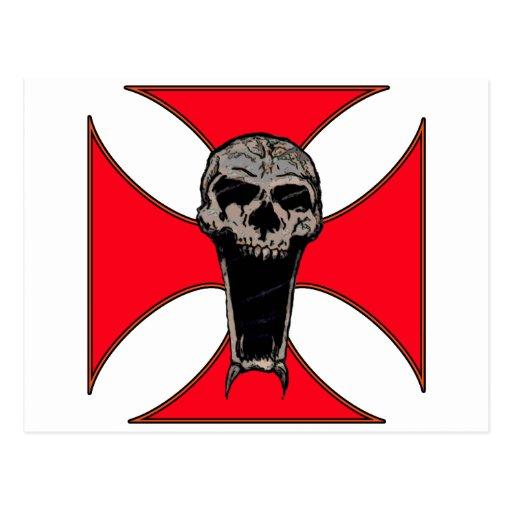 Templar cross skull post card