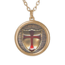 TEMPLAR EMBLEM GOLD FINISH NECKLACE