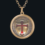 """TEMPLAR EMBLEM GOLD PLATED NECKLACE<br><div class=""""desc"""">Templar A member of the Knights Templar. Knight Templar: a knight of a religious military order established in 1118 to protect pilgrims and the Holy Sepulcher Knight Templar: a knight of a religious military order established in 1118 to protect pilgrims and the Holy Sepulcher</div>"""