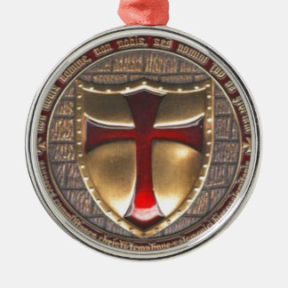 TEMPLAR EMBLEM ROUND METAL CHRISTMAS ORNAMENT