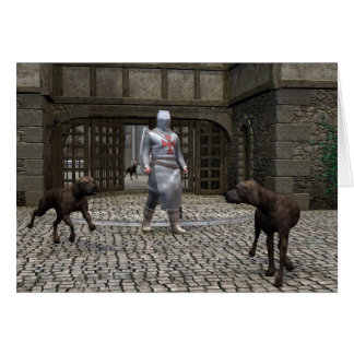 Templar Knight and Guard Dogs at a Castle Gate Greeting Card