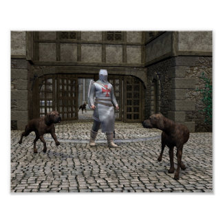 Templar Knight and Guard Dogs at a Castle Gate Print