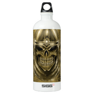 Templar Knight Gothic Medieval Skull with Wings Aluminum Water Bottle