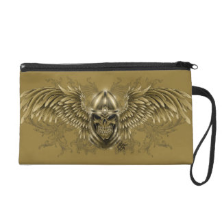 Templar Knight Gothic Medieval Skull with Wings Wristlet Clutch