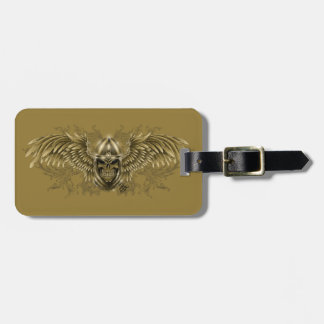 Templar Knight Gothic Medieval Skull with Wings Bag Tag