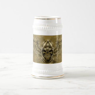 Templar Knight Gothic Medieval Skull with Wings Beer Stein