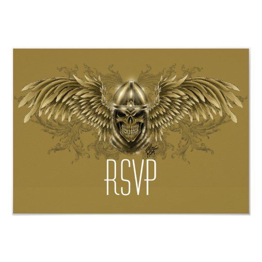 Templar Knight Gothic Medieval Skull with Wings Card